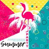 Piękna różowa flaminga i palmy sylwetka z Memphis projektuje elementy Zdjęcia Royalty Free