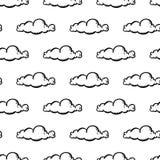 Piękna ręka rysująca moda wzoru chmury bezszwowa ikona Ręka rysujący czarny nakreślenie Znak, symbol, doodle/ Odizolowywający na  ilustracji