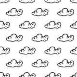 Piękna ręka rysująca moda wzoru chmury bezszwowa ikona Ręka rysujący czarny nakreślenie Znak, symbol, doodle/ Odizolowywający na  ilustracja wektor