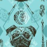 Piękna ręka rysuję wektorowy bezszwowy deseniowy kreślić pies royalty ilustracja
