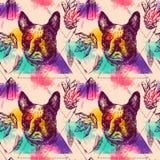 Piękna ręka rysuję wektorowy bezszwowy deseniowy kreślić pies ilustracja wektor