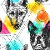 Piękna ręka rysuję wektorowy bezszwowy deseniowy kreślić pies ilustracji