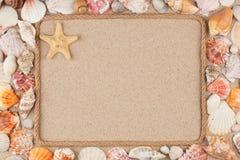Piękna rama robić arkana i gwiazda, morze skorupy na piasku z miejscem dla twój wizerunku, tekst zdjęcie stock