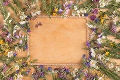 Piękna rama robić arkany i pola kwiaty kłama na drewnianej powierzchni Obraz Royalty Free