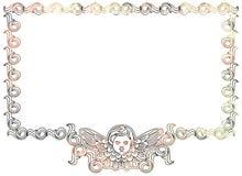 Piękna rama z aniołeczkiem w rocznika stylu Obrazy Royalty Free