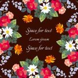 Piękna rama z jaskrawymi kwiatami Świąteczny kwiecisty projekt dla witać i zaproszenia kart royalty ilustracja