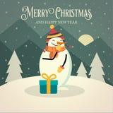 Piękna retro kartka bożonarodzeniowa z bałwanem ilustracja wektor