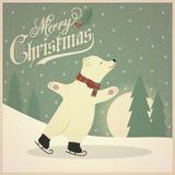 Piękna retro kartka bożonarodzeniowa z niedźwiedziem polarnym ilustracja wektor