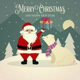 Piękna retro kartka bożonarodzeniowa z niedźwiedziem polarnym i Santa ilustracja wektor