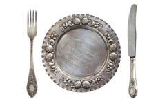 Piękna rocznika srebra Ajour łyżka, nóż i talerz odizolowywający na białym tle, antyczne srebra obrazy royalty free