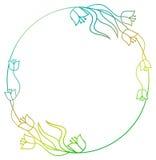 Piękna round kwiecista rama z gradientową pełnią Raster klamerka ar Zdjęcia Stock