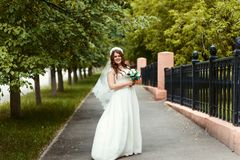 Piękna rozochocona panna młoda patrzeje kamerę w parku w lecie w białej sukni i przesłona z bukietem w ona ręki fotografia royalty free