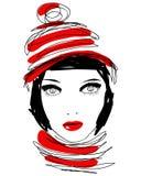 piękna rysująca ręki portreta stylu zima kobieta ilustracja wektor