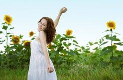 piękna słonecznika kobieta Zdjęcia Stock