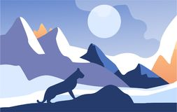 Piękna scena natura, pokojowy góra krajobraz z rysiem przy nocą, szablon dla sztandaru, plakat, magazyn, pokrywa ilustracji
