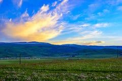 Piękna sceneria Qinghai - Tybetański plateau przy zmierzchem, Qinghai prowincja, Chiny obraz stock
