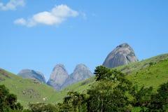 Piękna sceneria zielony las i gładzi skały Fotografia Royalty Free