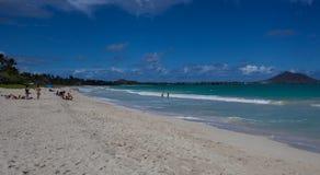 Piękna Sceniczna Tropikalna Kailua plaża Oahu Hawaje zdjęcie royalty free