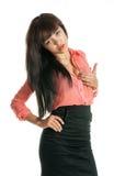 Piękna seksowna brunetka patrzeje kamerę Zdjęcie Royalty Free