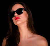 Piękna seksowna dziewczyna z okularami przeciwsłonecznymi Obrazy Royalty Free