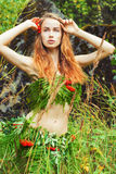 Piękna seksowna dziewczyny amazonka z dużymi wargami jest wśród gałąź paproć w drewnach na letnim dniu Zdjęcie Stock