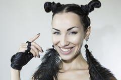 Piękna Seksowna Emocjonalna uśmiechnięta kobiety twarz Zdjęcia Royalty Free