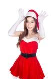 Piękna seksowna kobieta jest ubranym Santa Claus odzieżowego działanie lubi r Obraz Stock
