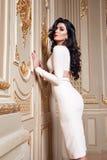 Piękna seksowna kobieta w eleganckiej sukni jesieni modnej kolekci wiosny brunetki ciała postaci długi włosiany makeup garbnikują Obrazy Royalty Free