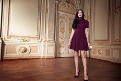 Piękna seksowna kobieta w eleganckiej sukni jesieni modnej kolekci wiosny brunetki ciała postaci długi włosiany makeup garbnikują Obrazy Stock