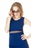Piękna seksowna kobieta w okularach przeciwsłonecznych. zdjęcia royalty free