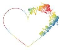 Piękna sercowata kwiecista rama z gradientową pełnią Fotografia Royalty Free