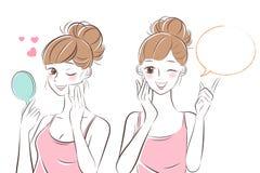 Piękna skincare kobieta ilustracja wektor