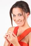 piękna smokingowa dziewczyny portreta czerwień obrazy royalty free