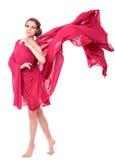 piękna smokingowa latająca czerwona kobieta Zdjęcia Royalty Free