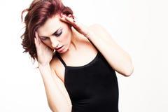 Piękna spięta kobieta z migreną obraz stock