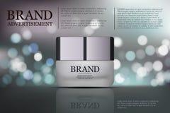 Piękna starzenia się śmietanki anta reklama Kosmetyka pakunku projekt 3d piękna wektorowa ilustracja Nawilżać twarzową śmietanki  Ilustracji