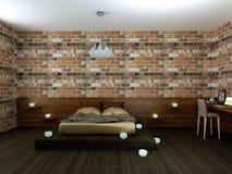 Piękna sypialnia w loft Zdjęcia Royalty Free