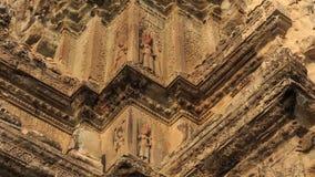 Piękna szczegół dekoracja Zewnętrzna ściana Angkor Wat Fotografia Stock