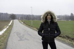 Piękna Szwedzka caucasian nastoletnia dziewczyna outdoors zdjęcia stock