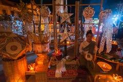 Piękna tajlandzka kobiety odzieży tradycyjna bawełna wyplatająca Zdjęcie Stock