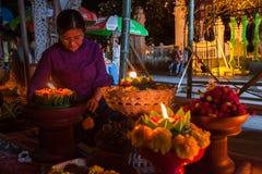 Piękna tajlandzka kobiety odzieży tradycyjna bawełna wyplatająca Obrazy Stock