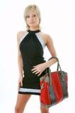 piękna torby portret kobiety czerwieni zdjęcie royalty free