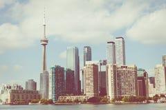 Piękna Toronto ` s linia horyzontu nad jeziorem Toronto, Ontario, Kanada zdjęcie royalty free