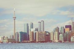 Piękna Toronto ` s linia horyzontu nad jeziorem Toronto, Ontario, Kanada fotografia stock