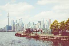 Piękna Toronto ` s linia horyzontu nad jeziorem Toronto, Ontario, Kanada fotografia royalty free