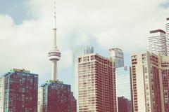 Piękna Toronto ` s linia horyzontu nad jeziorem Toronto, Ontario, Kanada obraz stock