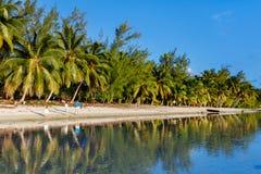 Piękna tropikalna plaża przy egzotyczną wyspą w Pacyfik Zdjęcie Royalty Free
