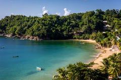 Piękna tropikalna plaża w Trinidad i Tobago, Caribe - niebieskie niebo, drzewa, piasek plaża, drewniane łodzie zdjęcia stock