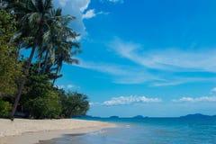 Piękna tropikalna plaża z drzewkami palmowymi i białym piaskiem Obrazy Royalty Free