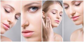Piękna twarz młoda i zdrowa dziewczyna w kolaż kolekci Chirurgia plastyczna, skóry opieka, kosmetyki i twarz udźwig, Obrazy Royalty Free